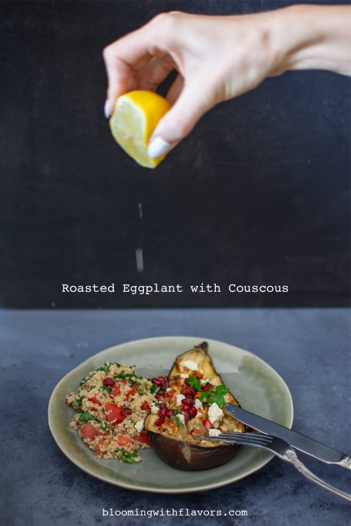 Roasted Eggplant with Couscous Salad - Easy, healthy and vegan recipe for lunch or dinner