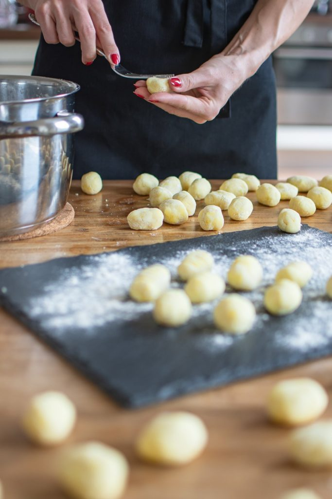 Recipe for homemade vegan Gnocchi. These small potato dumplings are quick and easy to make and so delicious! #onepanmeal #gnocchi #dinnerrecipes #vegetarianrecipes #cookings