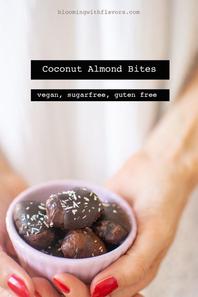 Delicious Vegan Coconut Bites made with 100% All Natural Ingredients and Covered In Vegan Chocolate. Dairy Free/ Gluten Free/ no Sugar. #vegan #chocolate #simplesnacks #dairyfree #vegan #vegansweets