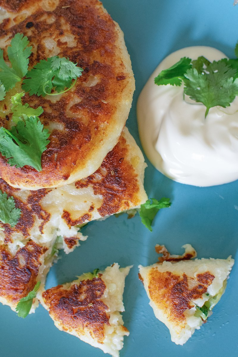 Easy recipe for stuffed potato cakes made of leftover potatoes with healthy Zucchini filling