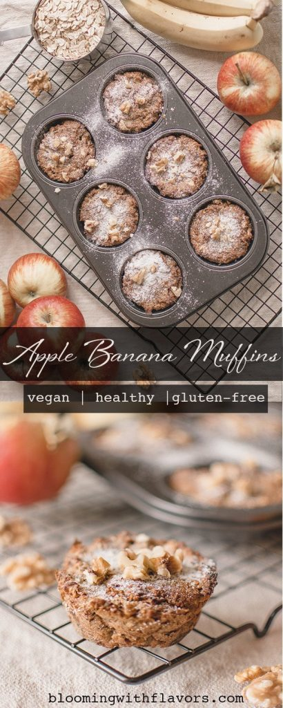Amazing, healthy apple muffins made with apple, banana and oat flour! Super easy and healthy recipe for vegan, gluten-free and sugar-free muffins. Also great for breakfast! Recipe yields 6 muffins. #vegan #muffins #dairyfree #plantbased #sugarfree #glutenfreebakery