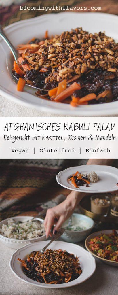 Köstliches Rezept für Kabuli (auch Kabuli Palau oder Palaw) - das Nationalgericht aus Afghanistan. Kabuli ist ein Reisgericht mit Karotten, Rosinen und Mandeln. Die Komponenten verbinden sich in diesem veganen Rezept zu einem einzigartigen Geschmack und wenn du Gerichte aus dem Orient magst, dann solltest du Kabuli auf jeden Fall probieren! #afghanischerezepte #veganegerichte #kabulipalau