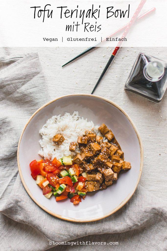 Diese Bowl mit Teriyaki Tofu und Reis ist das perfekte Rezept für ein gesundes Abendessen. Durch das Marinieren des Tofus mit der hausgemachten Teriyaki-Sauce wird ein intensiver und voller Geschmack hervorgebracht.