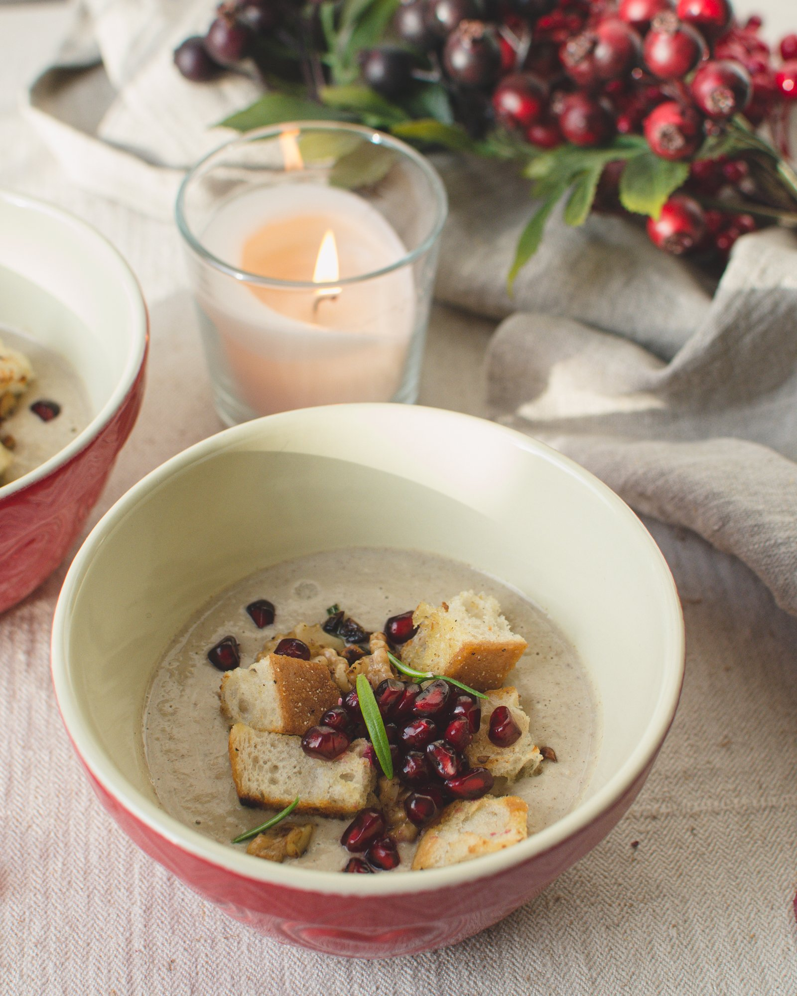 This creamy vegan chestnut soup is perfect for the winter time! Whether as a starter for your Christmas menu or as a main course on cold days - this nutty, creamy soup is quick to make and warms up nicely! The flavor of chestnuts, onions, garlic, cinnamon, parsnips and other delicious ingredients complement each other perfectly for this winter soup. #vegansoup #veganrecipe #cooking #christmas #wintersoup
