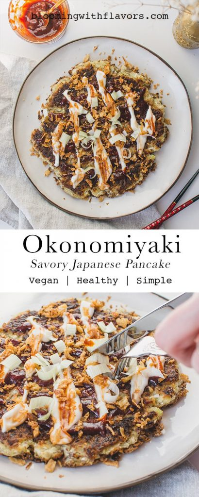 This vegan Okonomiyaki Recipe is easy to make and super delicious! You'll love the Japanese Savory Pancake with Cabbage for lunch, dinner or for meal prep! | #veganokonomiyaki #okonomiyaki #savorypancake #cabbage #pancake #cabbagepancake #japanesefood #bloomingwithflavors