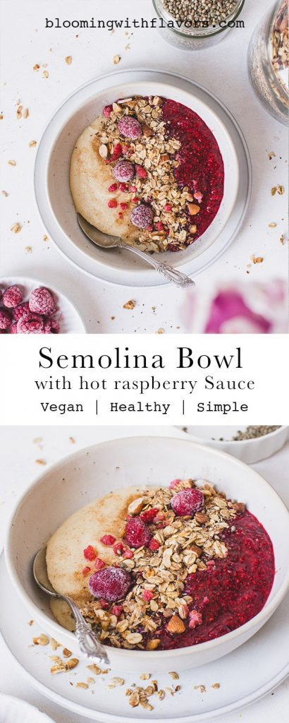 Recipe for a vegan semolina pudding bowl with raspberry sauce: This vegan semolina pudding bowl with hot raspberry sauce is perfect as breakfast, dessert or snack. Vegan | dairy free | plant based | oil-free | #veganbowl #semolina #vegansnack #vegandessert # veganbreakfast